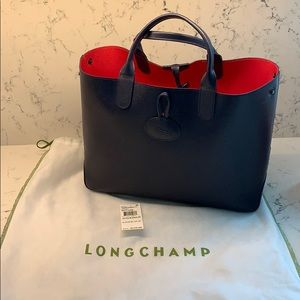 Authentic Longchamp leather reversible tote
